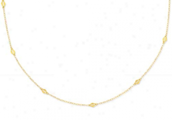 14k Yellow Delicate Long Link Necklace - 56 Inch