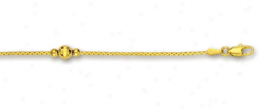 14k Golden Diamond-cut Dance Station Anklet - 10 Inch