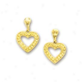 14k Yellow Diamond-cut Dangling Open Heart Shaped Earrings