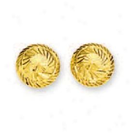 14k Yellow Diamond-cut Half Ball Stud Earrings