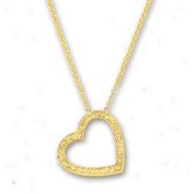 14k Golden Diamond-cut Heart Shaped Necklace - 17 Inch