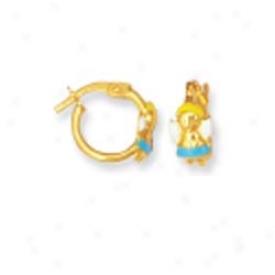 14k Yellow Doll Shaped Childrens Stud Enamel Earrings
