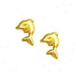 14k Yellow Dolphin Friction-back Post Earrings