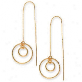 14k Yellow Double Circle Threader Earrings