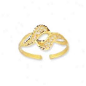 14k Yellow Double Wave Filigree Design Toe Ring