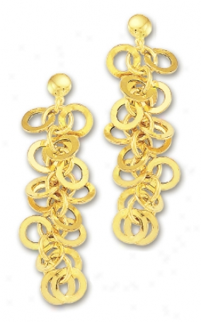 14k Yellow Cease Circular Links Earrings