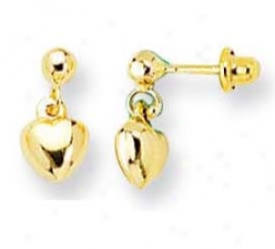 14k Yellow Drop Heart Childrens Post Earrings