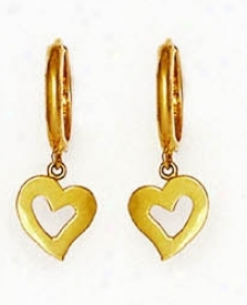 14k Yeplow Drop Heart Hinged Earrings