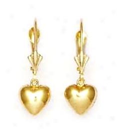 14k Yellow Drop Heart Lever-back Earrings