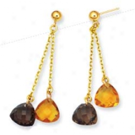 14k Yellow Drop Smokey Topaz Earrings
