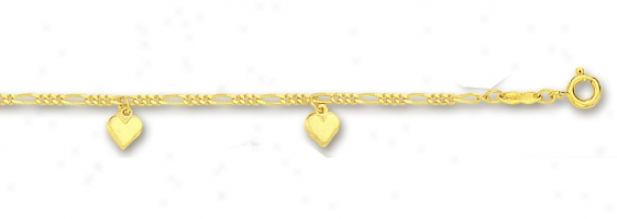 14k Yellow Drop Solid Heart Station Anklet - 10 Inch