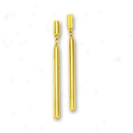 14k Yellow Elegant Bar Drop Earrings