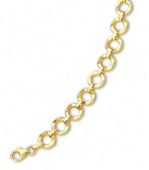 14k Yellow Elegant Circular Link Bracelet - 7.5 Inch