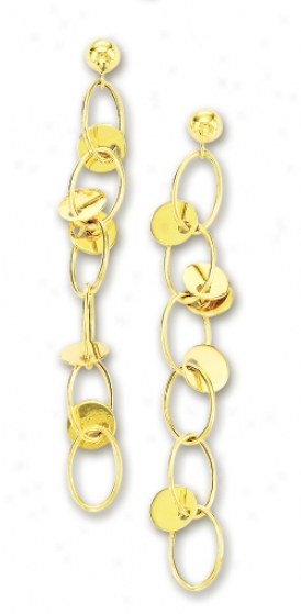 14k Yellow Elegant Circular Link Drop Earrings