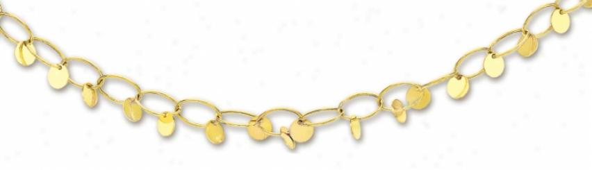 14k Yellow Eldgant Circular Link Necklace - 18 Inch