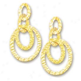 14k Yellow Elegant Drop Hammered Circles Design Earrings