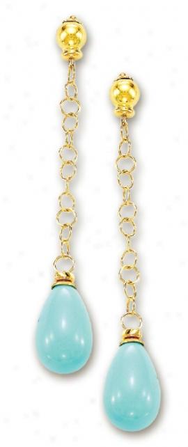 14k Yellow Elegant Distil Turquoise Earrings