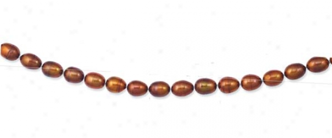 14k Golden Polished Oval Chocolate Pearl Necklace - 20 Inch