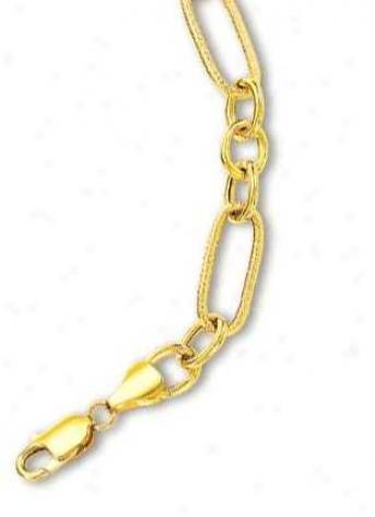 14k Yellow Elegant Oval Link Design Bracelet - 7.5 Inch