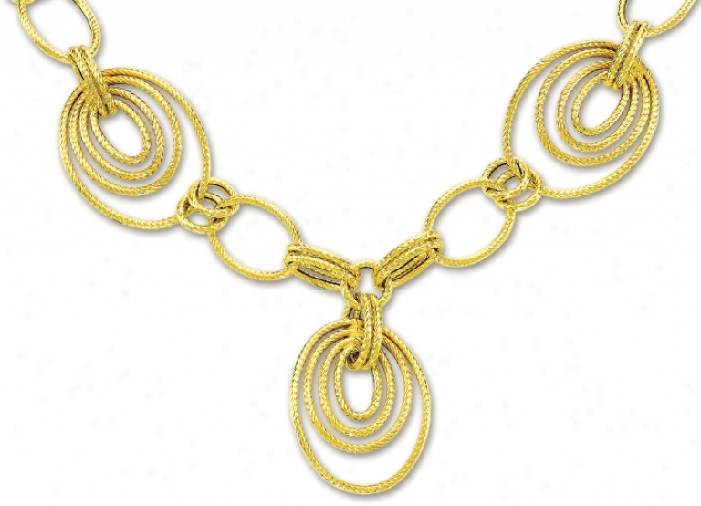 14k Yellow Elegant Oval Links Design Necklace - 17 Inch