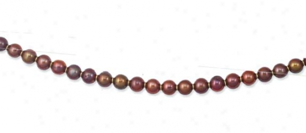 14k Yellow Polished Round Chocolate Pearl Necklace - 18 Inch