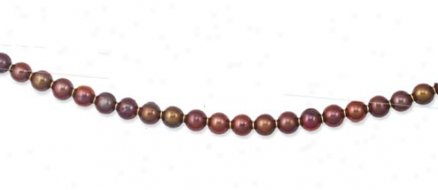 14k Yellow Elegant Round Chocolate Pearl Necklace - 20 Inch
