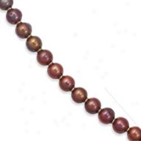 14k Yellow Elegant Round Chocolate Peatl Necklace - 7 Inch