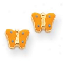 14k Yellow Enameled Butterfly Childrens Earrings