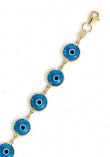 14k Golden Evil Eye Enamek Bracelet - 7.25 Inch