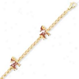 14k Yelloq Evil Eye Enamel Childrens Bracelet - 6 Inch