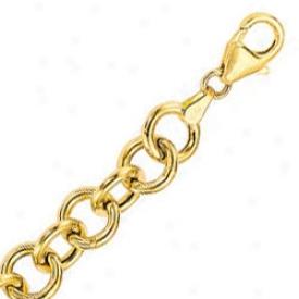 14k Yellow Fancy 7.25 Inch X 8.0 Mm Rolo Chain Bracelet