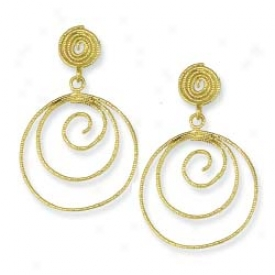 14k Yellow Fancy Design Hoop Earrings