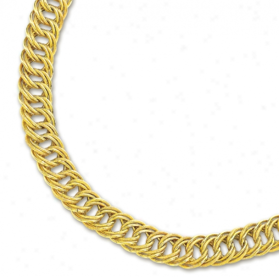 14k Yellow Fancy Double Link Bold Curb Necklace - 18 Inch