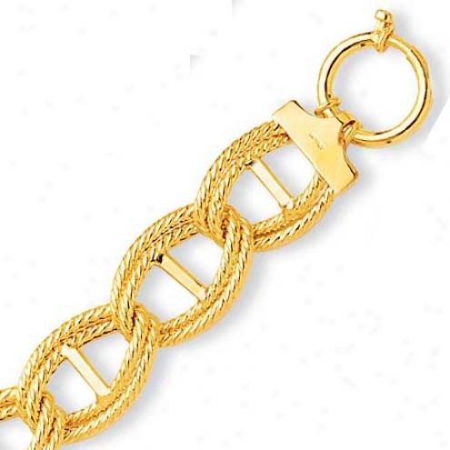 14k Yelliw Fancy Double Mariner Connective Bracelet - 7.5 Inch