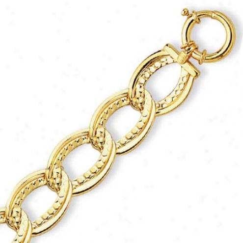 14k Yellow Fancy Double Oval Link Bracelet - 7.5 Inch