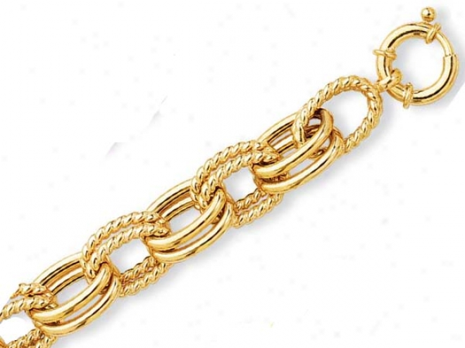 14k Yellow Fancy Double Oval Link Bracelet - 8 Inch