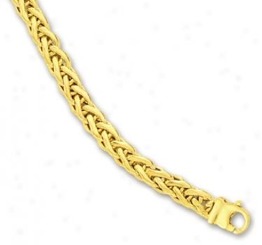 14k Yellow Fancy Flat Wheat Bracelet - 7.25 Inch