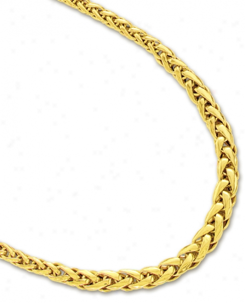 14k Yellow Fancy Flat Wheat Necklace - 17 Inch