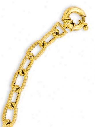 14k Yellow Fancy Link Bracele - 7.25 Inch