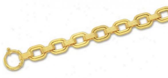 14k Yellow Fancy Member Bracelet - 7.5 Inch