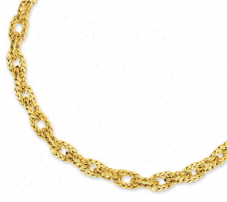 14k Yellow Fancy Link Necklace - 17 Inch