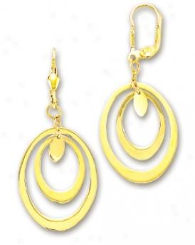 14k Yellow Fancy Oval Drop Earrings