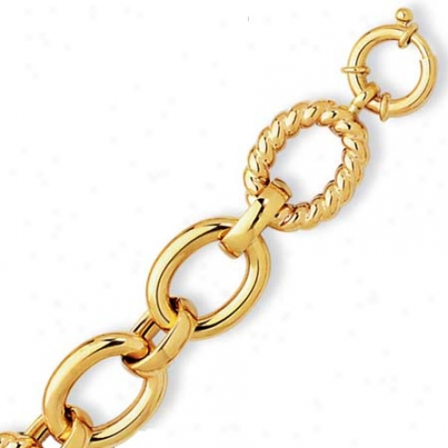 14k Yellow Fancy Oval Link Bracelet - 7. Inch