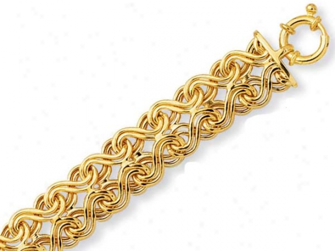 14k Yellow Fancy Overlapped Design Bracelet - 7.5 Inch