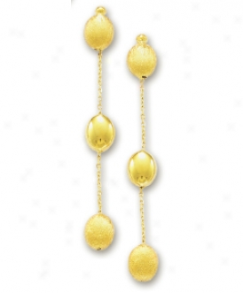 14k Yellow Fancy Pebbles Earrings