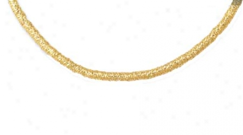 14k Yellow Fancy Stretchable Mesh Necklace - 16 Inch