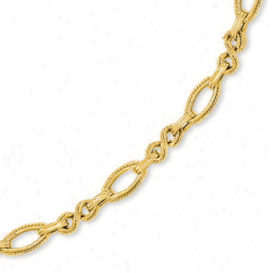14k Yellow Fancy Twirl Link Necklace - 17 Inch