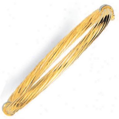 14k Yellow Fancy Twisted Bangle - 7 Inch