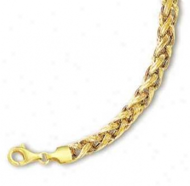14k Yellow Fancy Wheat Bracellet - 7.5 Inch