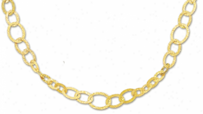 14k Yellow Fashionable Steep Circle Link Necklace - 38 Inch